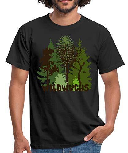 Herren Shirt Wald Baum Bäume Wild Wildwuchs Natur Männer T-Shirt, XL, Schwarz