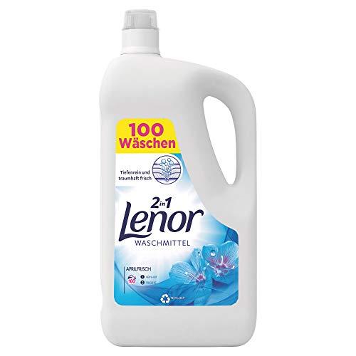 Lenor Waschmittel Flüssig, Flüssigwaschmittel, 100 Waschladungen, Lenor Aprilfrisch mit Duft von Frühlingsblumen (5.5 L)