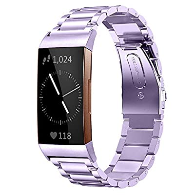 Shangpule Compatible for Fitbit Charge 3 / Fitbit Charge 4 / Fitbit Charge 3 SE Bands, Stainless Steel Metal Replacement Strap Wrist Band Compatible for Charge 3 Fitness Tracker Large Small (Purple)