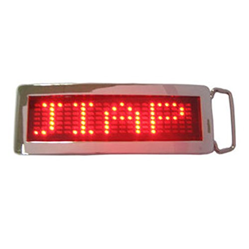 Xiangshang shangmao Red DIY Nom du Texte Flash Chrome LED Scrolling Belt Buckle Party