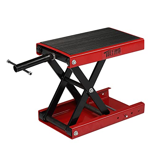 TUFFIOM Motorcycle Scissor Lift Jack w/ Rubber Top Surface & Safety Pin, Height Adjustable Steel Center Hoist Crank Stand for Motorcycle Repair...