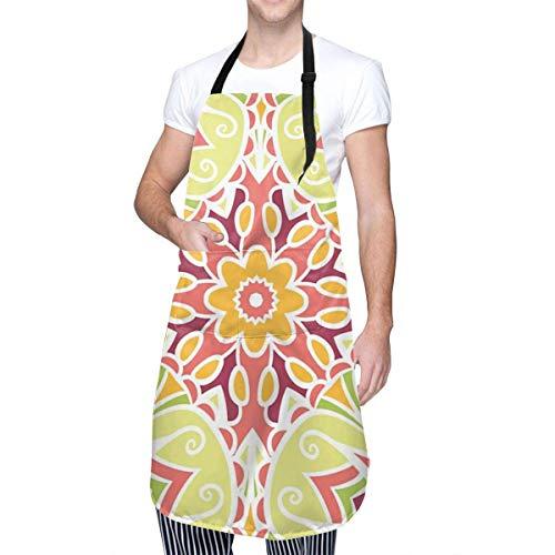 Delantales de Cocina Unisex con Estampado de Azulejos Mandala para el hogar, Delantales duraderos con Cuello Ajustable para cocinar, jardinería, Hornear