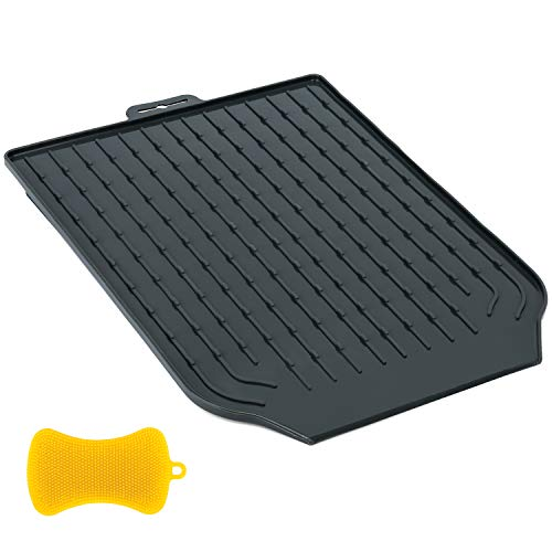 Tapetes de silicona para secar platos de cocina, escurreplatos con pendiente para drenar el agua, ranuras antideslizantes