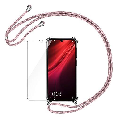 AROYI Funda con Cuerda para Xiaomi Redmi Note 8T + Protector Pantalla, Carcasa Transparente TPU Silicona Case con Colgante Ajustable Collar Correa de Cuello Cordón para Xiaomi Redmi Note 8T - Oro Rosa
