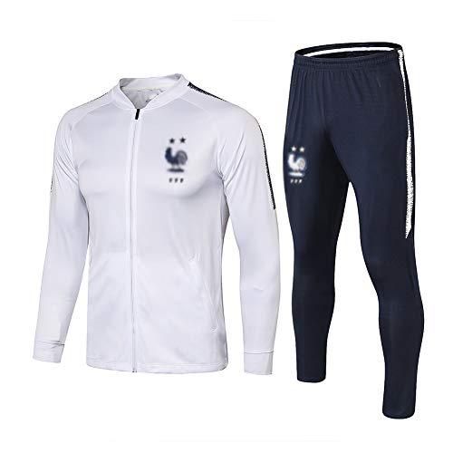ZH~K Traje de entrenamiento de club de fútbol europeo para hombre, manga larga, transpirable, ropa deportiva (parte superior + pantalones) – A1248 sudaderas para hombre (color: blanco, tamaño: S)