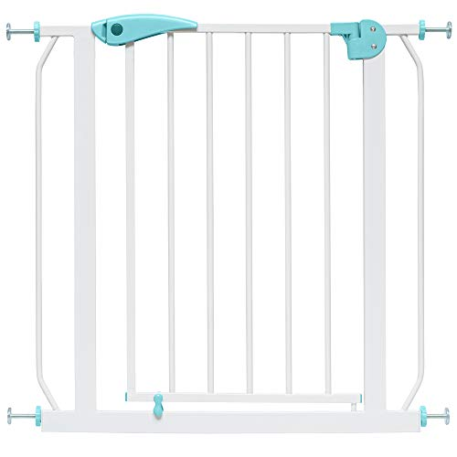 IB-Style - Cancello di sicurezza'Berrin' bianco-turchese 75-175 - Miglior rapporto qualità-prezzo 2016 cm - 16 varianti | AUTO-CLOSE | Senza trapano a pressione. Regolabile 115-125 cm