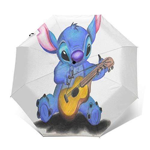 Kompakter Trifold Travel Anti-UV-Regenschirm mit automatischem Öffnen/Schließen, winddichter, Faltbarer, Leichter Sonnenschirm im Freien,Lilo Stitch Gitarre