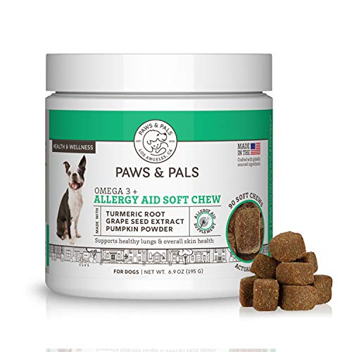 Paws & Pals Dog Allergy Relief - Pet Immune Seasonal Chew Treats - Itchy Skin Supplement for Dogs & Cats with Omega-3 -Antihistamine - Antioxidants - Digestive Prebiotic - Probiotics - 90 Count
