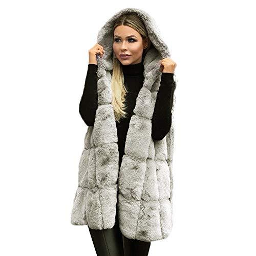 Auied Damen Plus Size Mantel ärmellose Kapuze einfarbig warmen Langen Mantel