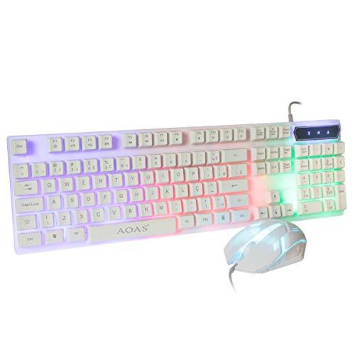 Kit Teclado E Mouse Gamer Colorido Usb Pc Multimídia Branco Informática PC NOtebook