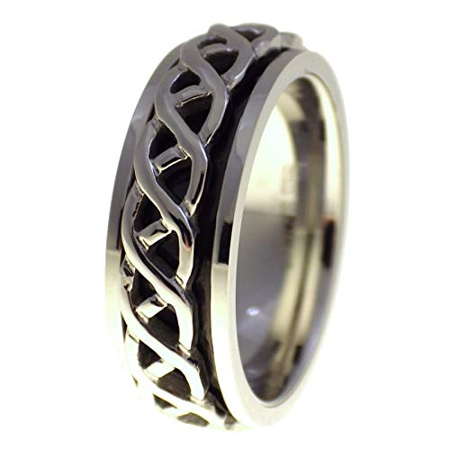 Fantasy Forge Jewelry Celtic Weave Spinner Ring Stainless Steel Band 7mm Size 12