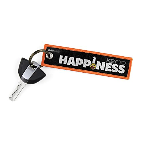 KEYTAILS Keychains, Premium Quality Key Tag for Motorcycle, Car, Scooter, ATV, UTV [Key to Happiness]