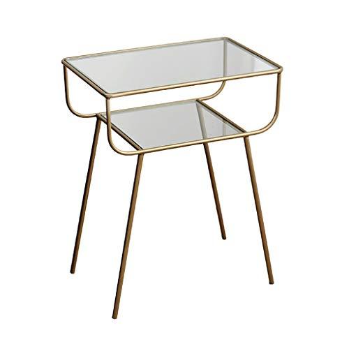Studie van het glas Table, Double Layer Waterdichte Multifunctionele Koffietafel Bedroom Boek Kamer Office Small Desk Grootte: 48.5 * 33 * 60CM (Color : B, Size : 48.5 * 33 * 60CM)