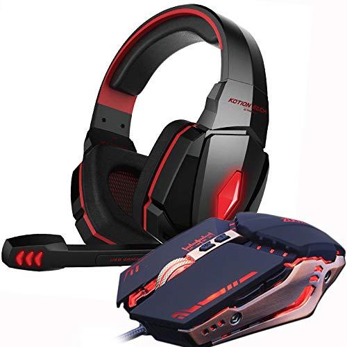 IN THE DISTANCE Gaming Headset Und Gaming Mouse 4000 DPI Einstellbare Stereo-Gamer-Kopfhörer Kopfhörer + Gamer-Mäuse LED-Licht Wired USB Für PC (Color : G4000 Red and MMR5)