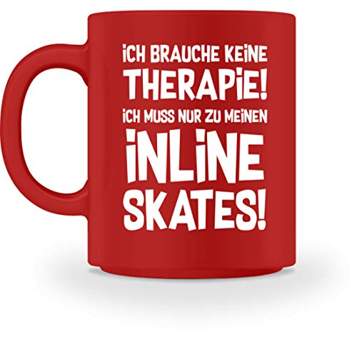 shirt-o-magic Inliner: Therapie? Lieber Inline Skates - Tasse -M-Rot