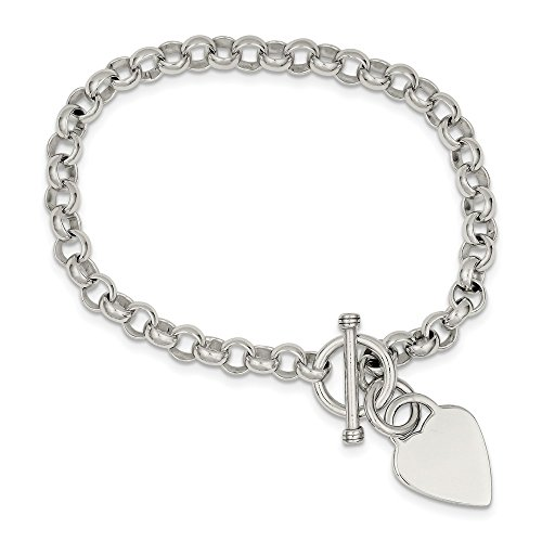 925 Sterling Silver Engraveable Heart Disc On Link Toggle Bracelet 7.75 Inch Charm Love Fine Jewelry For Women Gifts For Her
