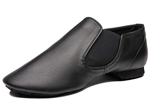 Coolkuskates IIGDance Black Low Heel Jazz Dance Shoe Slips-on2 Dancing Shoes for Women,Lady and Men (8.5W/7.5M, Black)