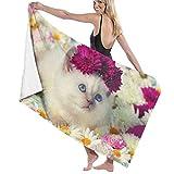 XCNGG Cute Cat and Daisy Toalla de baño Suave y súper Absorbente, Adecuada para Hotel, Piscina, Gimnasio, Playa, 32 x 52 Pulgadas