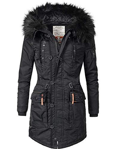 khujo Damen Mantel Wintermantel Winterparka YM-Halle (vegan hergestellt) Black018 Gr. L