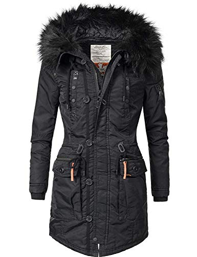 khujo Damen Mantel Wintermantel Winterparka YM-Halle (vegan hergestellt) Black018 Gr. S