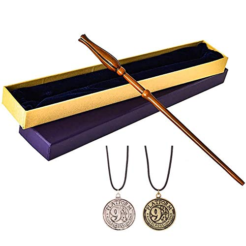 DFGHJKNN - Varita mágica de resina, baqueta para accesorios de cosplay, baqueta de bruja Luna Lovegood para brujas y magos, 36 cm, con 2 collares