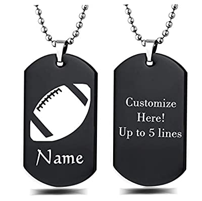 Personalized Sport Silhouette Customize Engrave Message Name Dog tag Necklace Pendant 24 inch Stainless Steel Chain Giftpouch and Keyring (Black Football)