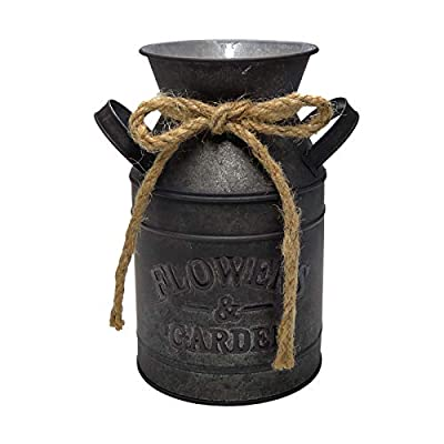 """WHHOME Shabby Chic Classy Designed Black Milk Can Galvanized Finish Metal Vase Country Rustic Primitive Decorative Flower Holder, 7.5"""" H"""