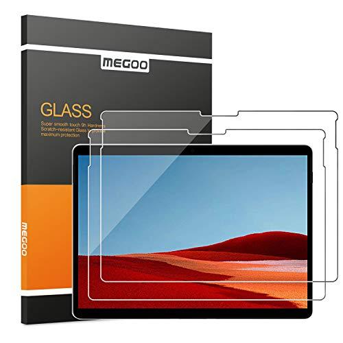 [2 Stück] MEGOO Microsoft Surface Pro X Schutzfolie gehärtetes Glas, Einfache Installation/ 9H Festigkeit/Klar Anti-Kratz Panzerfolie Bildschirmfolie für Microsoft Surface Pro X 13 Zoll (1876 Model)