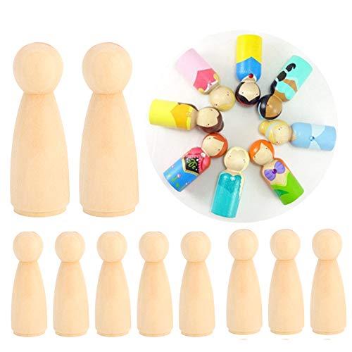 Exblue Cuerpos de muñecas de Clavija de Madera, 10 Piezas 65 mm Formas de Personas inacabadas Cuerpos de Personas de Madera Muñecas de ángel para Manualidades DIY, Mujer