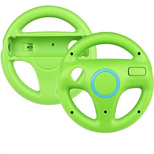 2 * Volant pour Wii,TechKen Manette de Volant de Course Roue de Wii Jeux de Course de Wii Steering Wheel Mario Kart Racing Volant en Plastique Accessoire de Jeu pour Contrôleur de Wii