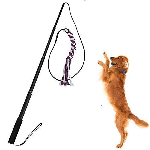 Sanzang Spielzeug für Hunde, ausziehbare Stange mit Seil, Trainingsgerät für Haustiere