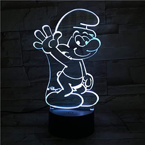 3D Nachtlicht-Schlümpfe-Touch Nachtlicht Der Optischen Täuschung 3D/Nachttischlampen Für Kinder/Innenbeleuchtung/Tisch- & Nachttischlampen/Kindergeschenk