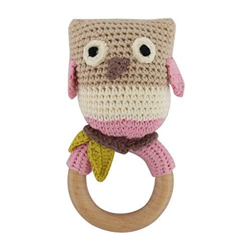 Bébé en bois Teeer Anneau bricolage Crochet Chouette Rattle Sucette Bracelet bébé Teeing Molar Jouets