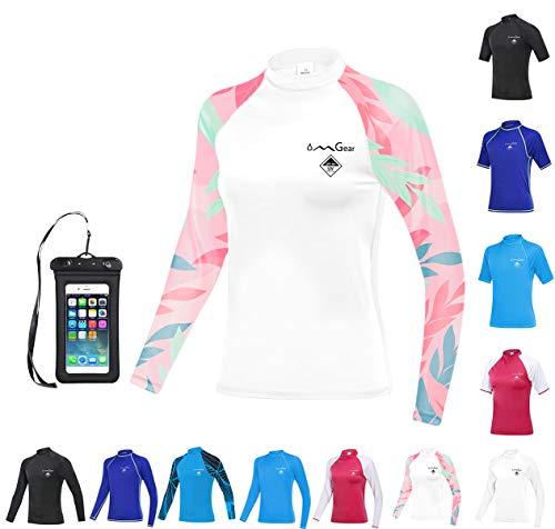 OMGear Surfing Shirt Rashguard Swimsuit MMA BJJ Rash Guard UV 50+ Swim Suit Men Women Rash Vest (White camo(Long Sleeve), Small)