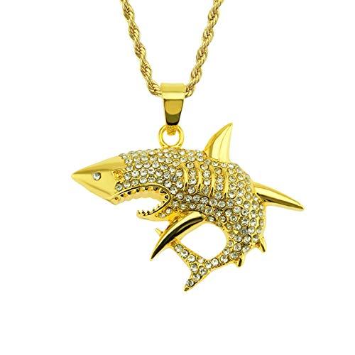 N/A Collar Colgante Collar Colgante de tiburón de Dientes Gigantes de Hip-Hop Tiburón Regalo de Fiesta de cumpleaños de Navidad de Halloween