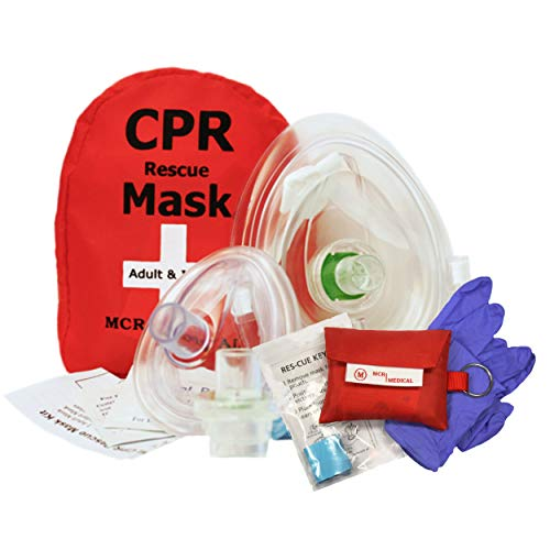 Adult/Child & Infant CPR Mask with 2 Valves & CPR Res-Cue Mask Key Chain, MCR Medical