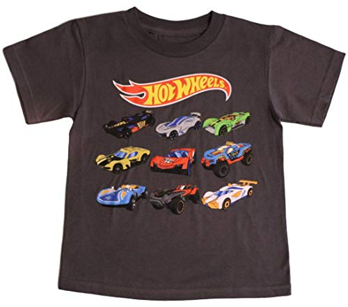 Hot Wheels Little Boys' Toddler Car Grid Tee, Charcoal (5/6)