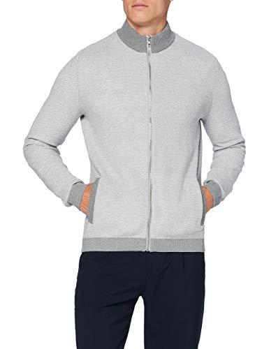 Amazon-Marke: find. Herren Strickjacke aus Baumwolle, Grau (Grey Marl), XL, Label: XL