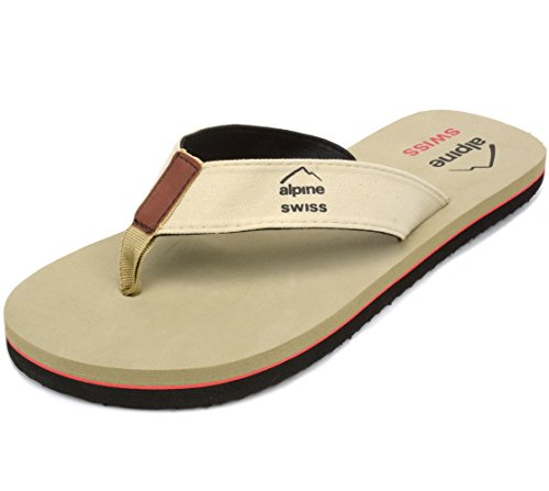 Alpine Swiss Mens Flip Flops Beach Sandals EVA Sole Comfort Thongs Tan 9 M US