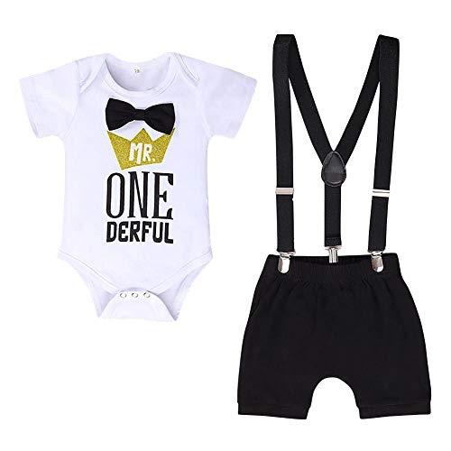 FYMNSI Baby Jungen 1. Geburtstag Outfit Mr. One Derful Baumwolle Kurzarm Strampler Body Hosenträger Shorts Kurzes Hose 3tlg Bekleidungsset Fotoshooting Kostüme Schwarz 12-18 Monate