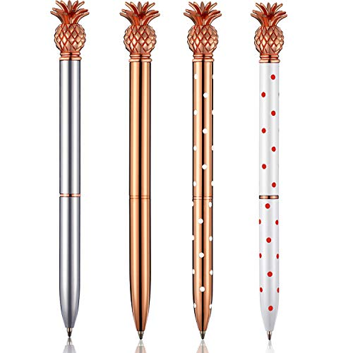 Pineapple Pens Metal Ballpoint Pens Rose Gold Pens for School Office Supplies, 1.0 mm, Black Ink (4 Pieces)