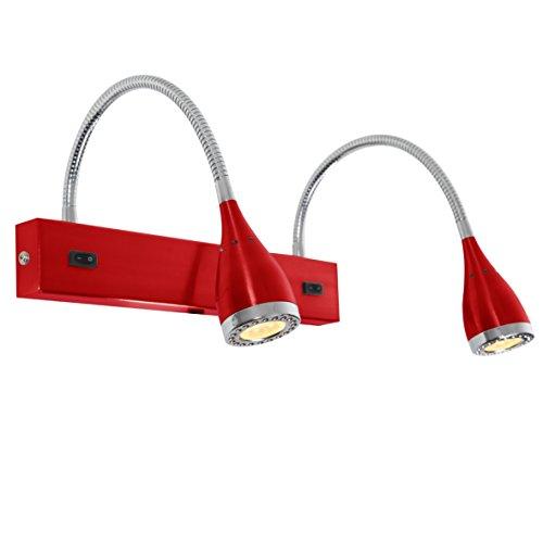 LED Wandleuchte Mini Led | dopp. Wand | Rot/Chrom, LK Nordlux, 2x 3x1W, warmweiß, Metall, Wandbeleuchtung, Leselampe, Leseleuchte, Wandlampe mit Flexarm, EEK A