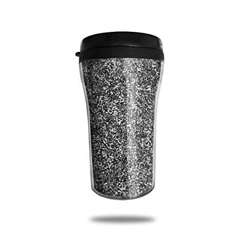 Taza de café de viaje con impresión 3D, taza de té aislada, taza de agua, taza de viaje para hombres, mujeres y niños, purpurina plateada