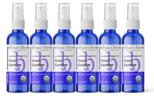 Organic Natural Hand Sanitizer Spray 6 Pack (Lavender)