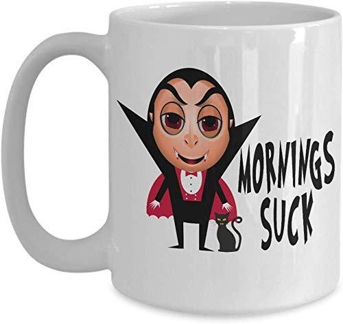 N\A Taza de Regalo o Taza de cerámica Mornings Suck Drácula y Gato