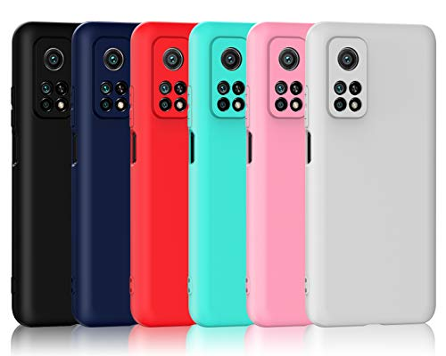 ivoler 6 Stücke Hülle für Xiaomi Mi 10T 5G / Xiaomi Mi 10T Pro 5G, Ultra Dünn Tasche Schutzhülle Weiche TPU Silikon Gel Handyhülle Hülle Cover (Schwarz, Blau, Rot, Grün, Rosa, Weiß)