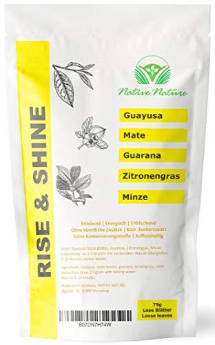 'RISE & SHINE' - Energy tea. Koffein Booster mit Guayusa, grünem Tee, Mate Tee, Guarana, verfeinert mit Zitronengras und Minze. Wachmacher mit extra viel natürlichem Koffein. - Native Nature…
