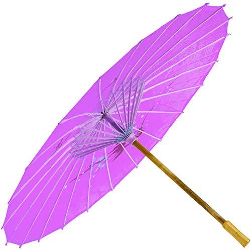 Chinesischer Schirm | Regen- & Sonnenschirm | authentische Bemalung in Handarbeit | Bambus Holz und traditionelle Bespannung: Farbe: pink