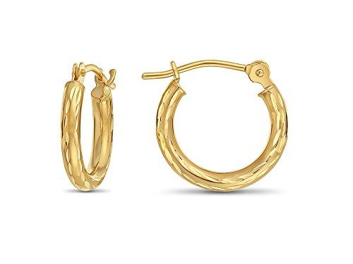 14k Yellow Gold Hand Engraved Full Diamond-cut Round Hoop Earrings (13mm (0.5 inch))