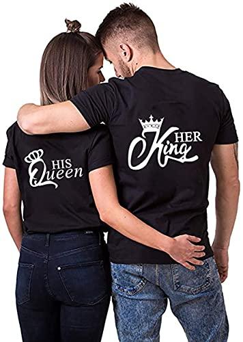 NIMAMA King Queen Pärche Shirts für Paar Partner Look T-Shirt Velentienstag Geschenk Tops Paare Baumwolle mit Aufdruck 1 Stück XXL Schwarz-1-king